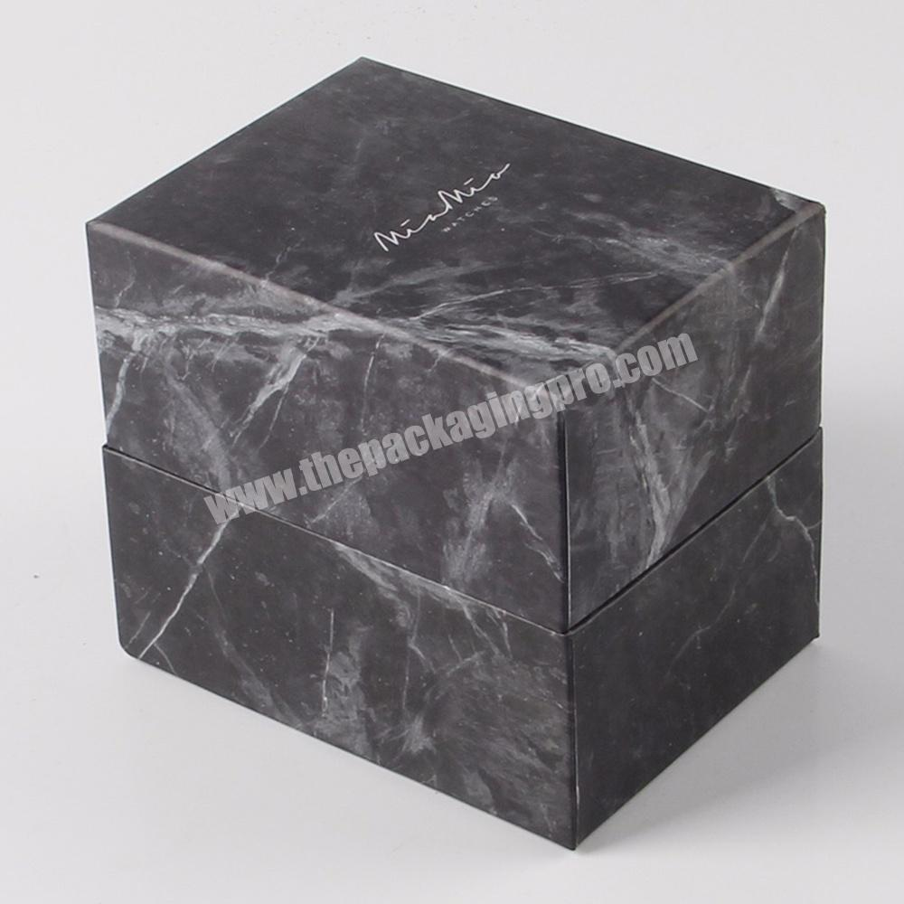 Supplier black matte square empty small cardboard cosmetic gift packaging marble paper boxes