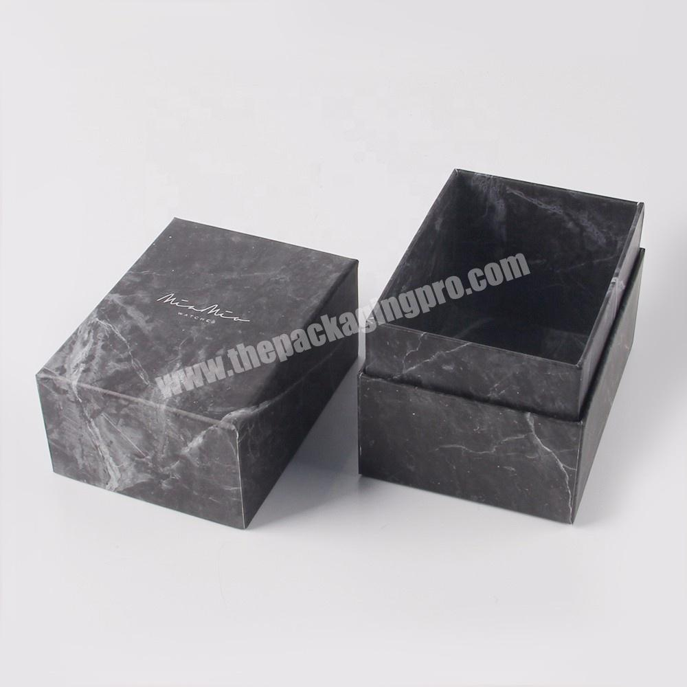 Factory black matte square empty small cardboard cosmetic gift packaging marble paper boxes