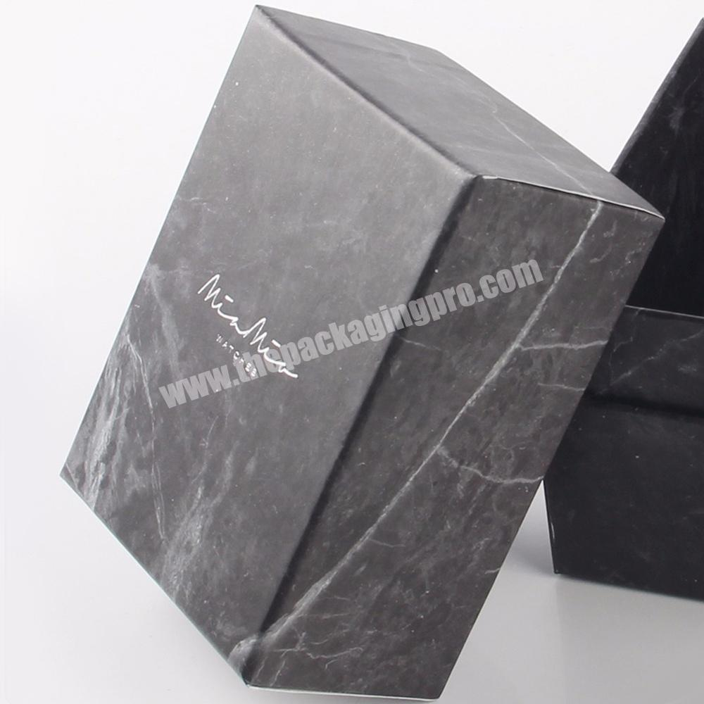 Wholesale black matte square empty small cardboard cosmetic gift packaging marble paper boxes