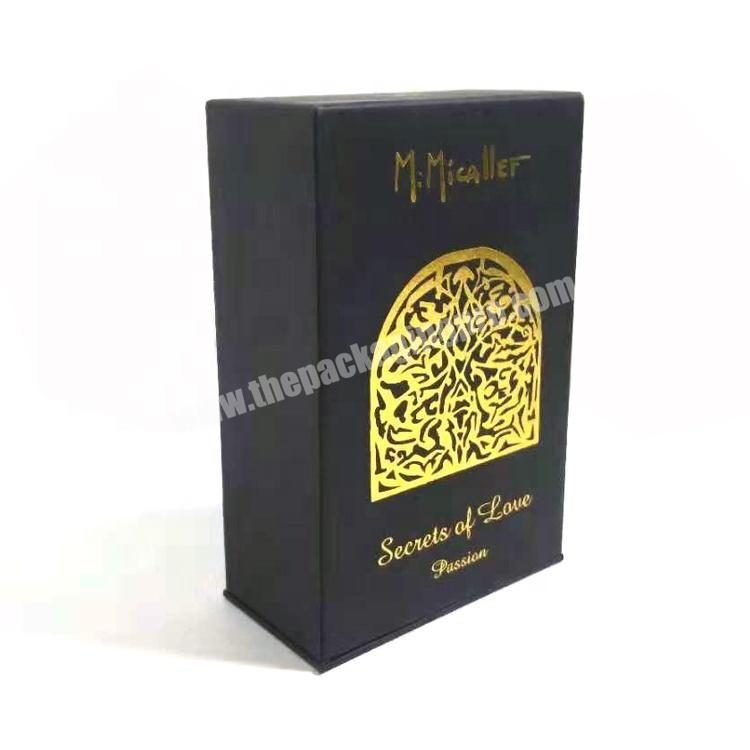 Black Paperboard Paper Packaging Perfume Bottle Gift Box With Gold Foil Stamping