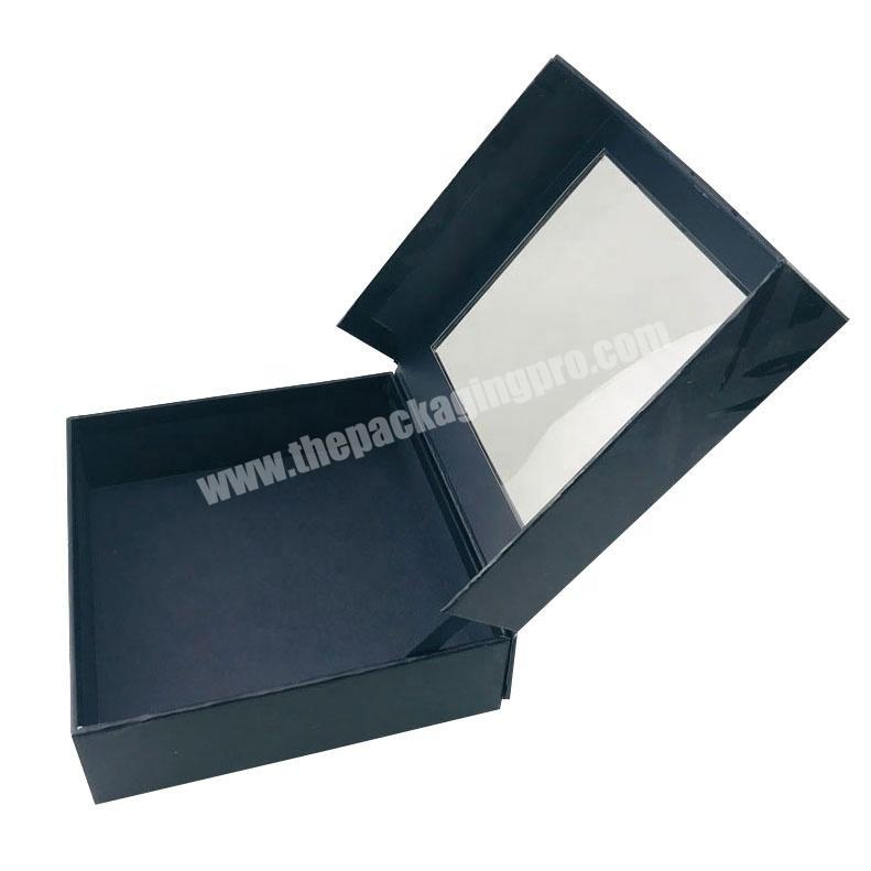 black rigid hinged transparent top  fragrance collection box with spot glossy UV