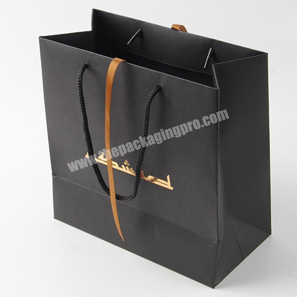 Custom cheap custom printed luxury black paper bag with ribbon