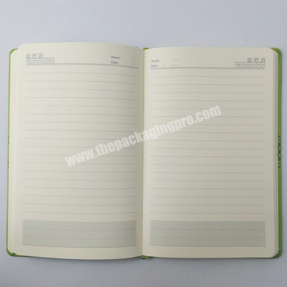 Cheap Promotional Hardcover Notebook Embossed Printed Journal Leather Planner