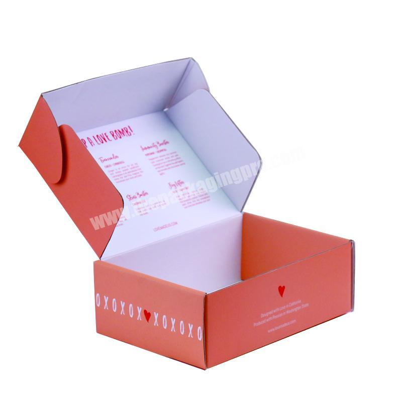 China emballage en papier Papier verpackung 2019 custom packaging paper cardboard box b9 flute color pink mailer box