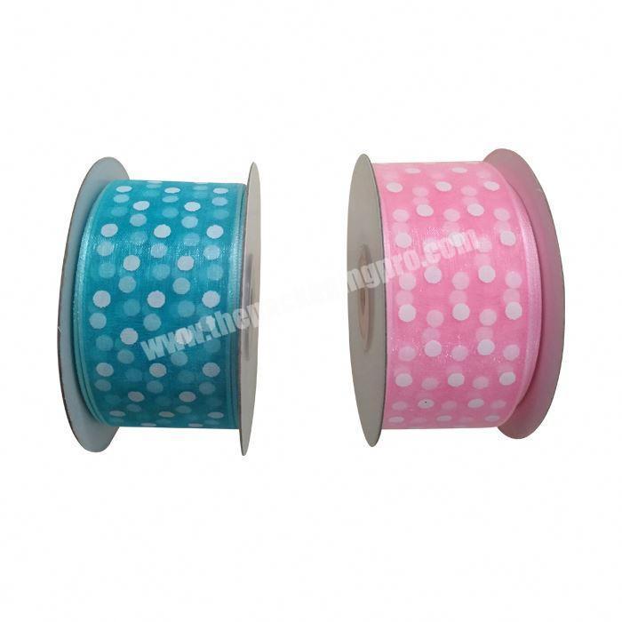 China factory wholesale nylon polka dot printed organza ribbon