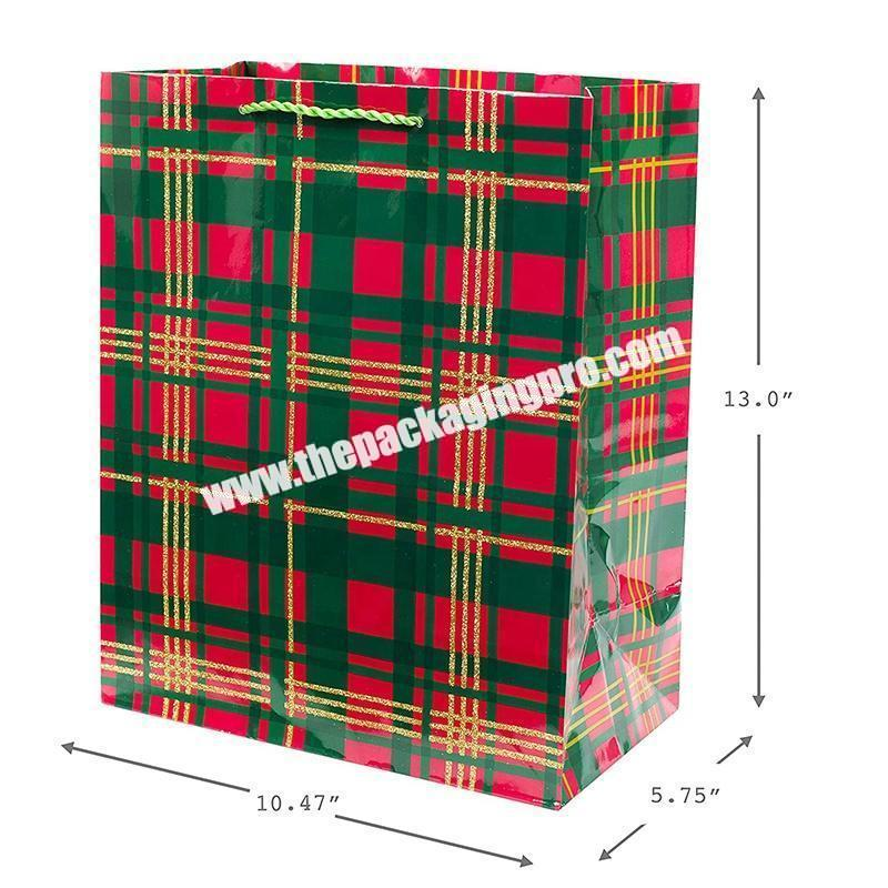 China manufactures retail flat popcorn waterproof grocery black handle christmas gift paper bag