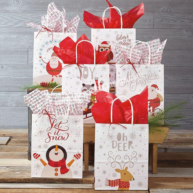 China manufactures retail flat waterproof grocery christmas gift paper bag