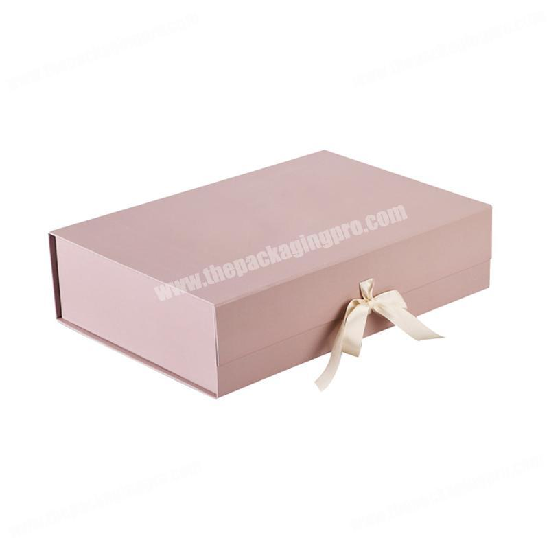 China Products Logo Customised Quality Printing Color Luxury Cardboard Flip Top Ribbon Closure Gift Box