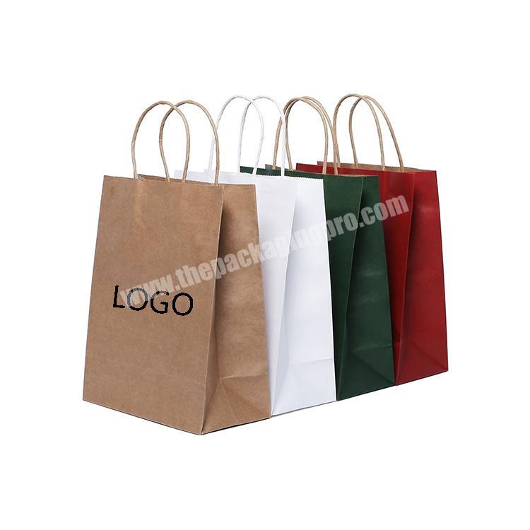 China supplier custom brown  packaging flat handle kraft paper bag for clothing shoes and shopping