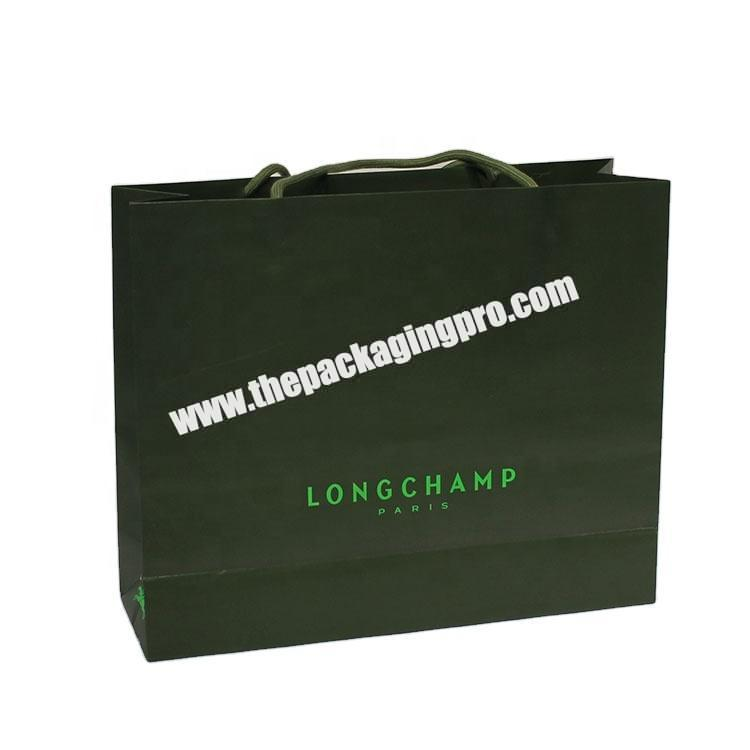 China Supplier Extra Large Shopping Paper Tote Bag With Handle Luxury Clothing Paper Bags Green Paper Gift Bags With Logo Print