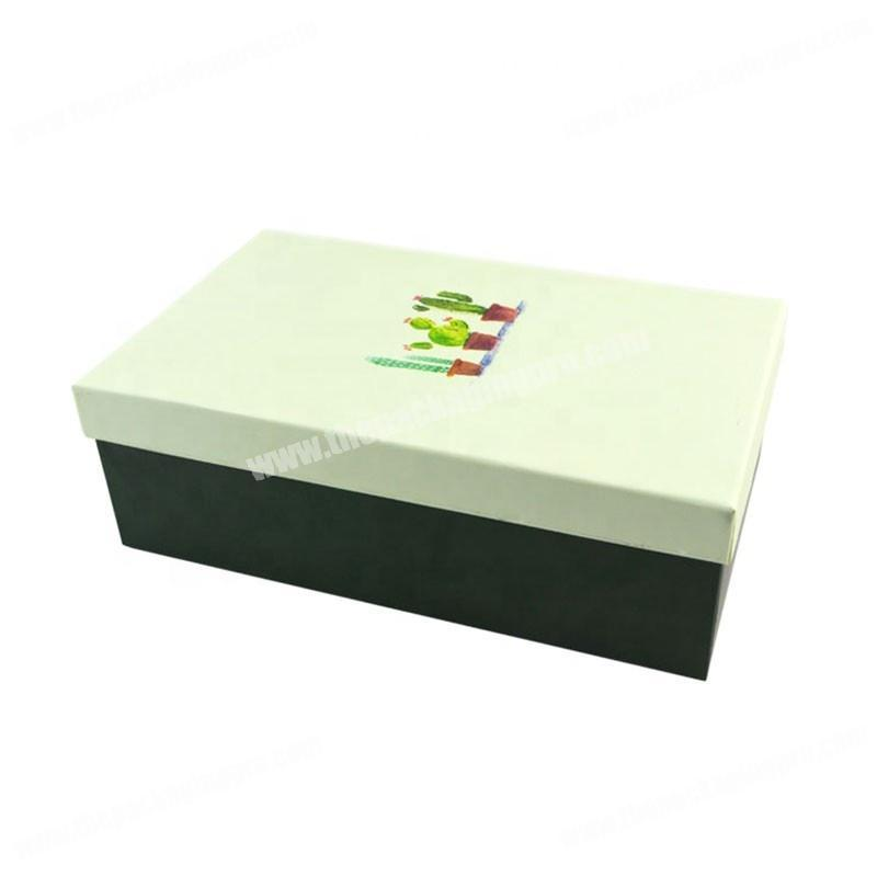 China supplier factory high grade paper rigid packaging custom logo shoe box with lid
