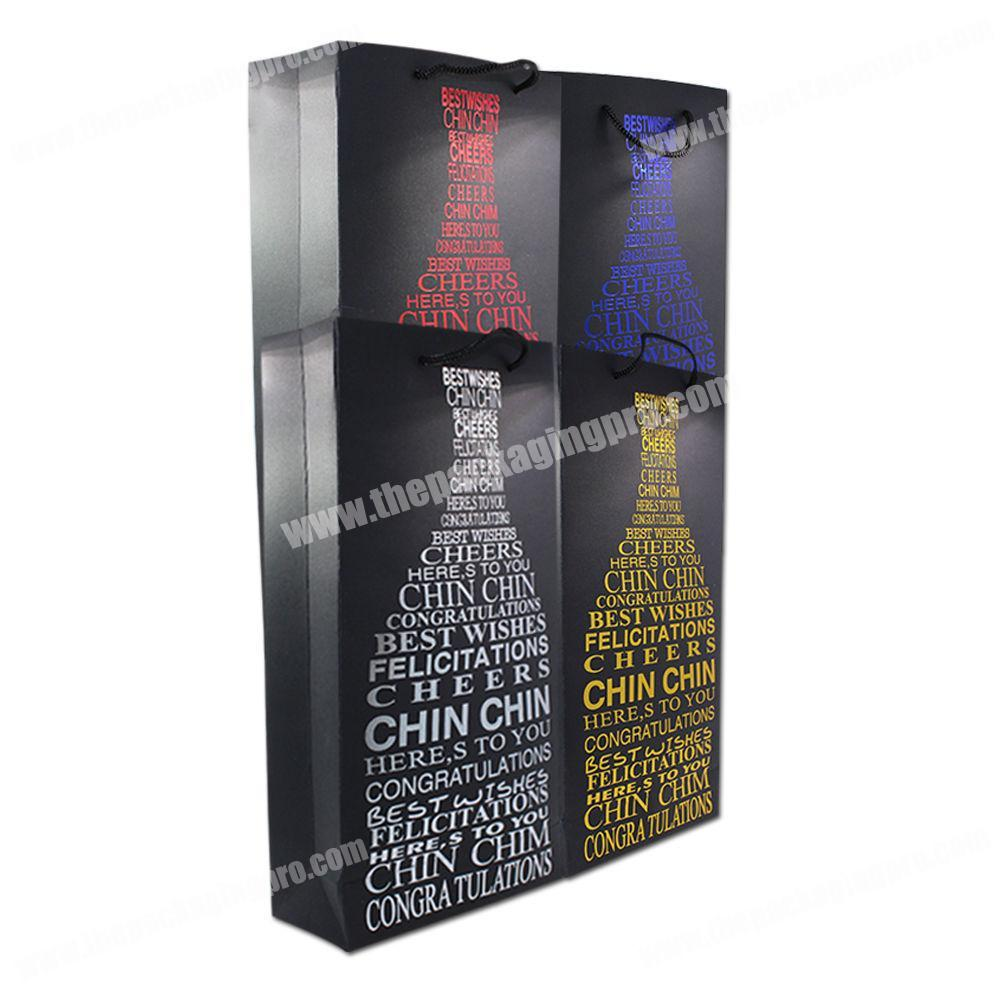 China Supplier Factory Wholesale Cheap Custom Design Printed Luxury Bottle Gift Packaging Wine Black Paper Bag