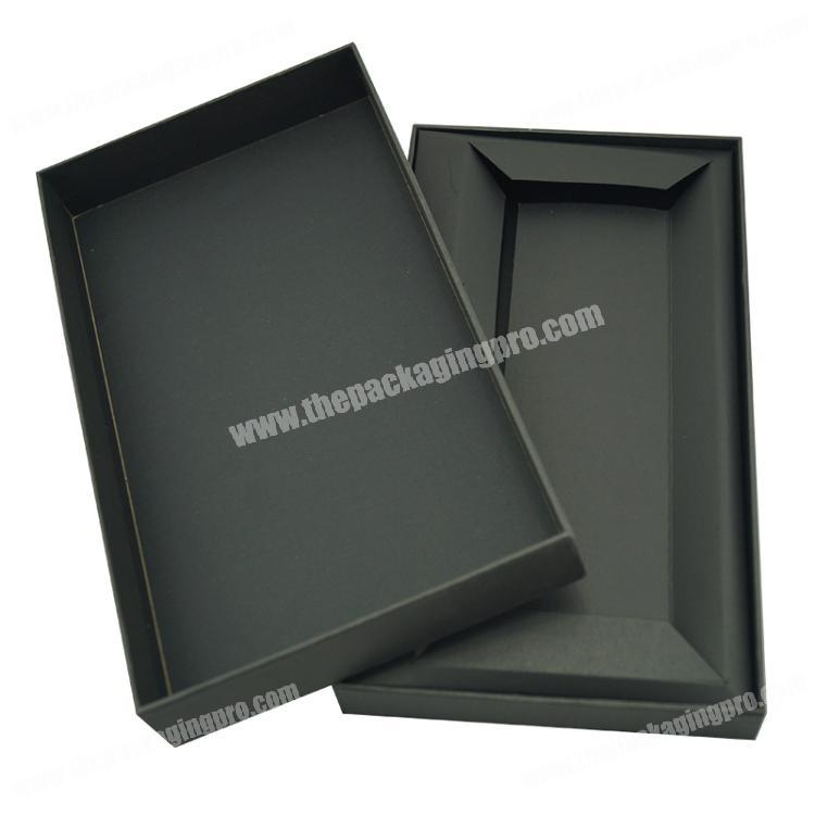 Chines Products High Quality Custom Lid and Bottom Box Black Cardboard Paper Insert Cell Phone Packaging Gift Box