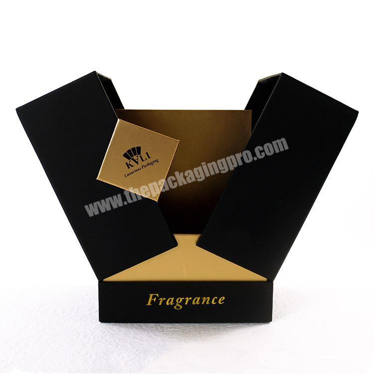 Classic black luxury custom touching paper perfume box packaging with gold stamping logo