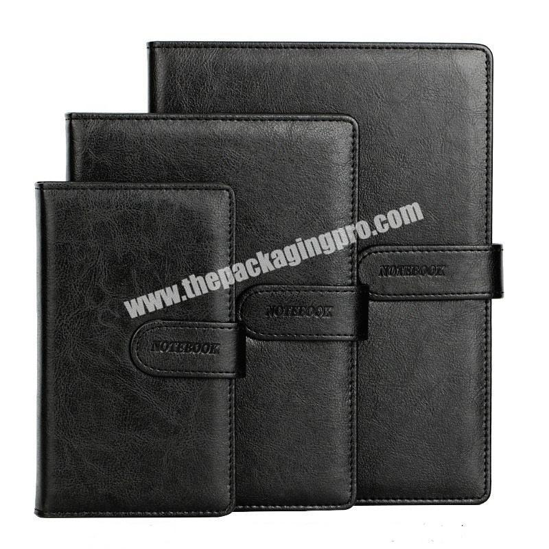 Custom 2021 B5 A5 A6 Hardcover Executive Notebooks PU Leather Office Stationery List Journals Black 365 Pocket Diary Notebook