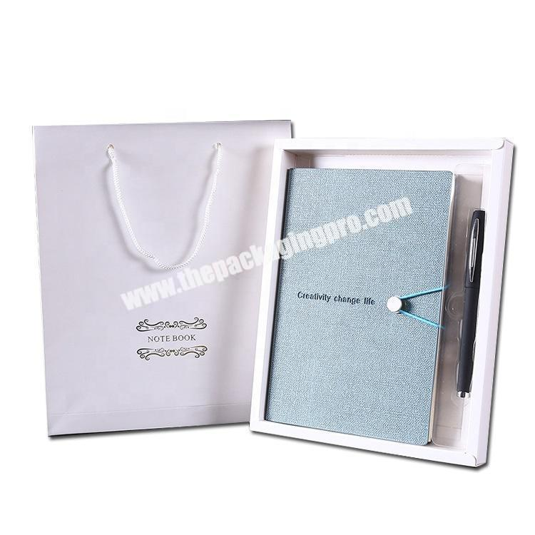 Custom 2021 Luxury Refillable Business Linen Stationery Diary Notebooks Embossed Logo Dairy Set Gift Notebook With Pen And Box