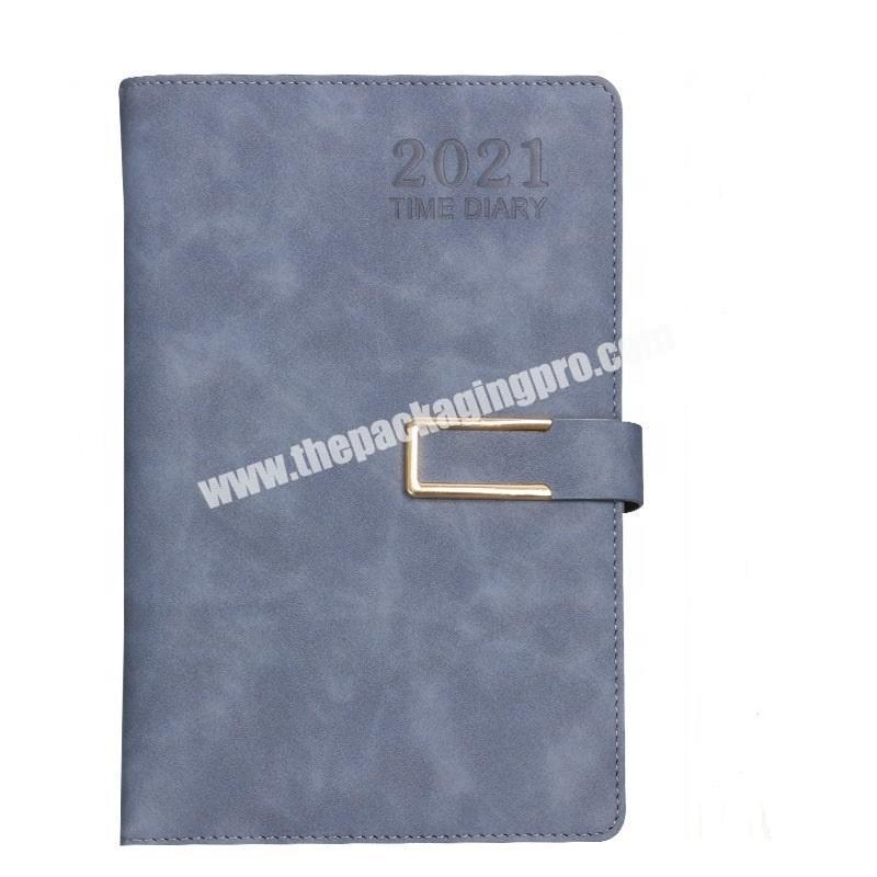 Custom 365 Days Time Agenda Refillable Diary Notebooks Gift Set Business Office Soft Pu Leather Notebook With Box And Pen