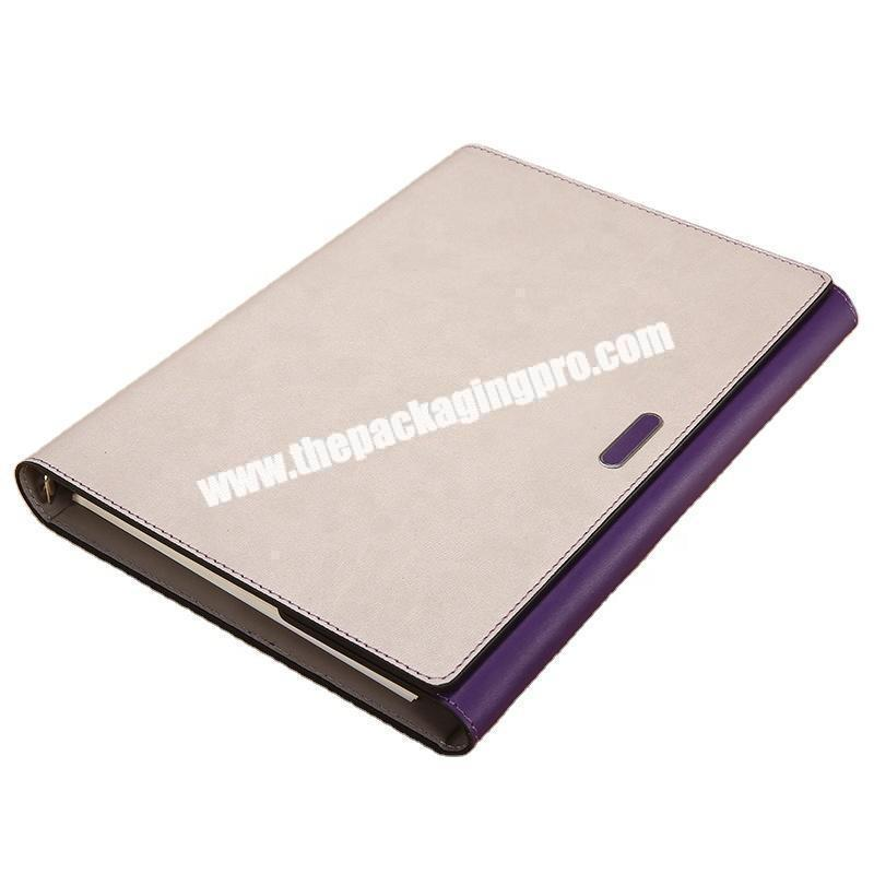Custom A4 A5 Blank Loose Leaf School Agenda Diary 6 Ring Binder Power Bank Notebook PU Leather Cover Magnetic Journal For Office