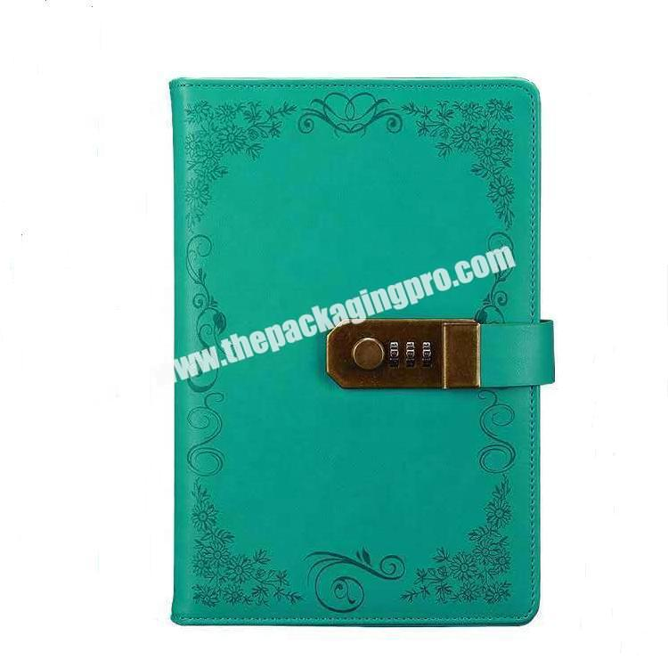 Custom A5 Hardcover Front Pocket Vintage Diary Embossed logo Prayer Journal Notebook Pu Leather Cover Diary  With Metal Lock
