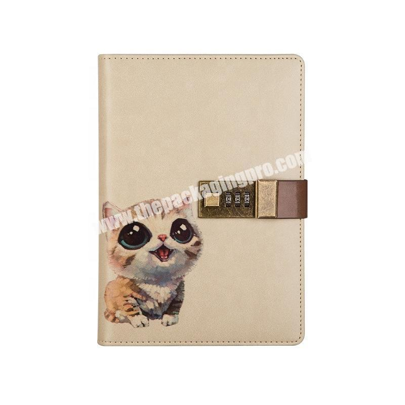 Custom A5 PU Leather Cover Lined Journal Notebook Hardmade Stationary 365 Diary Animal Notebooks 2021 Travel Diary With Lock