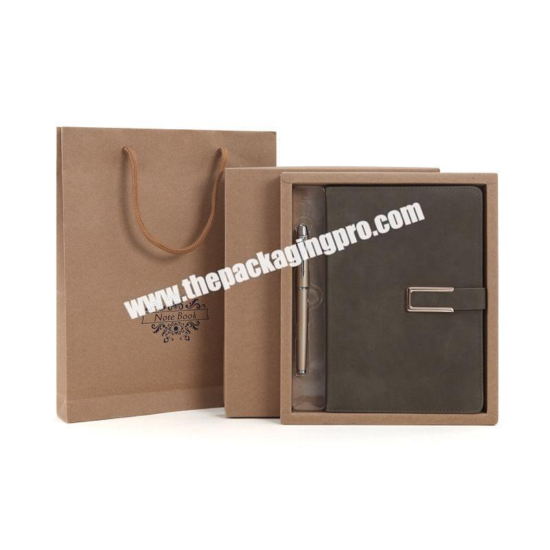 Custom Brown Soft PU Leather Prefect Diary Logo Printed Stationary Notebook Hardcover A5 B5 Leather Diary Set Gift Notebooks