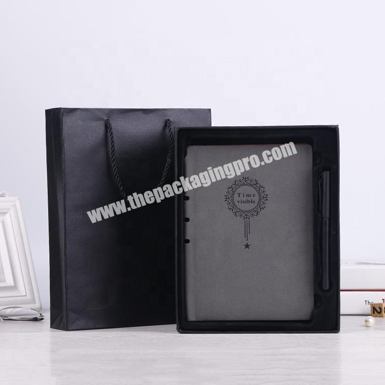 Custom Business Office Writing Handmade Stationery Notebooks Embossed Logo Soft Pu Leather 2021 Diary Notebook With Pen And Box