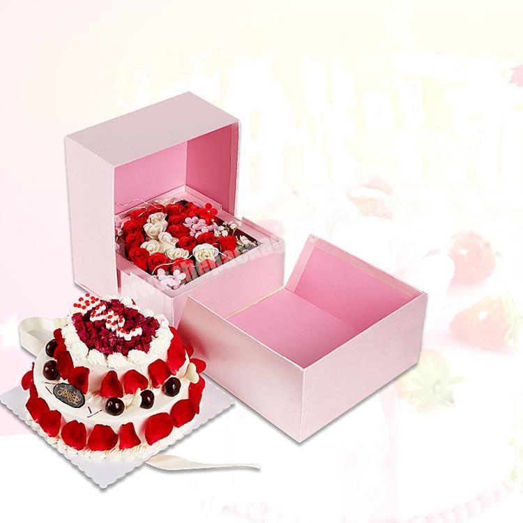 Custom Cake paper box cardboard retail food packaging with ribbon bowed eco friendly