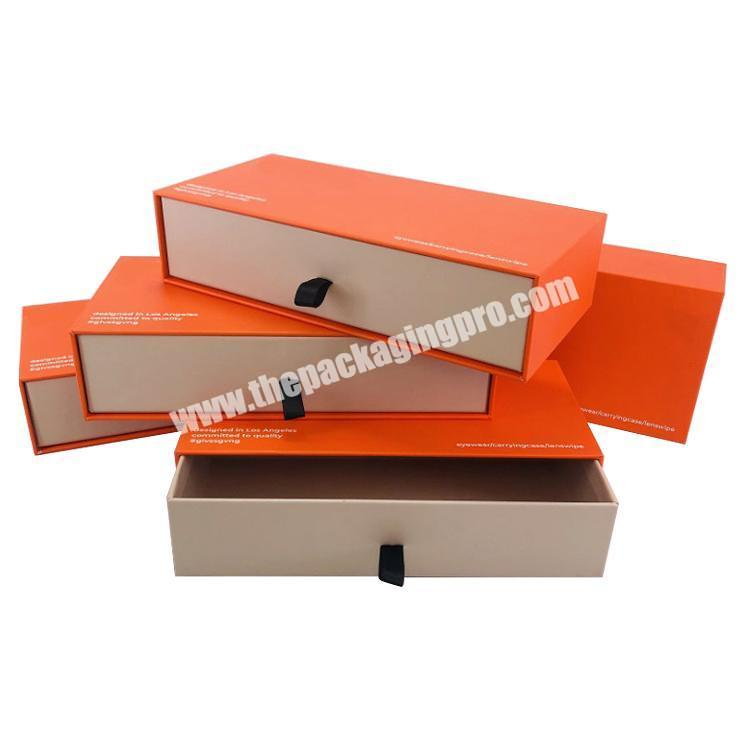 Custom Cardboard Gift Paper Sliding Drawer Boxes whit Logo Printed Luxury Drawer Box Packaging for Clothes Belts wallet scarf