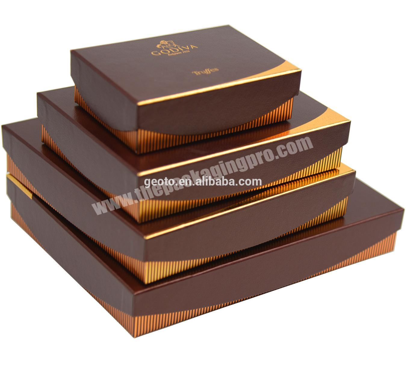 Custom chocolate packaging cardboard lid and base box with paper insert