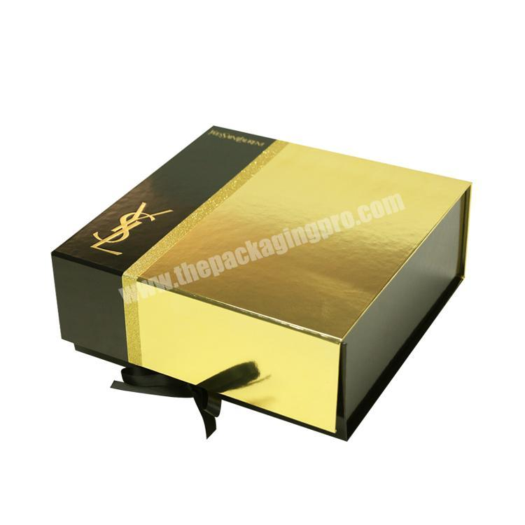 custom collapsible gold cosmetic gift paper box packaging