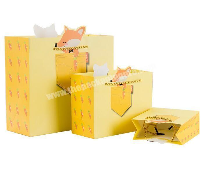 Custom cute carton design printed packaging favor paper bags manufacturers