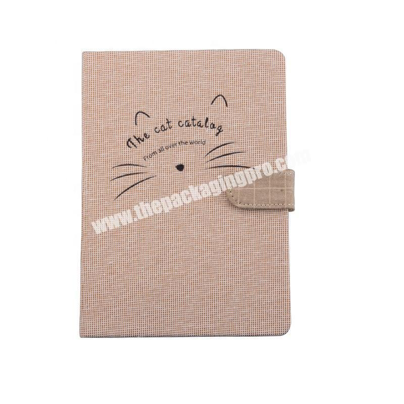 Custom Design Cute Cat A4 A5 A6 Grid Plain Dotted Lined Paper Love Traveler Journal Business Diary Fabric Cover Notebook