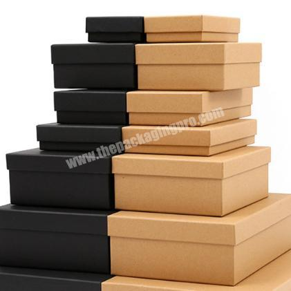 Custom design logo hot stamping lid and base construction rigid card kraft paper box