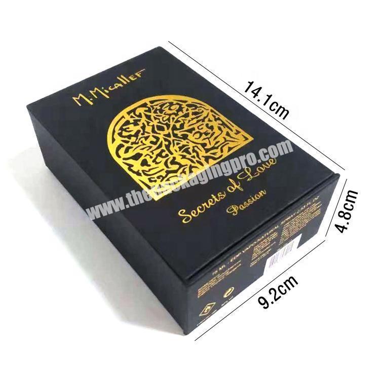 Custom Design Logo Printed Luxury Black Cardboard Paper Packaging Perfume Boxes