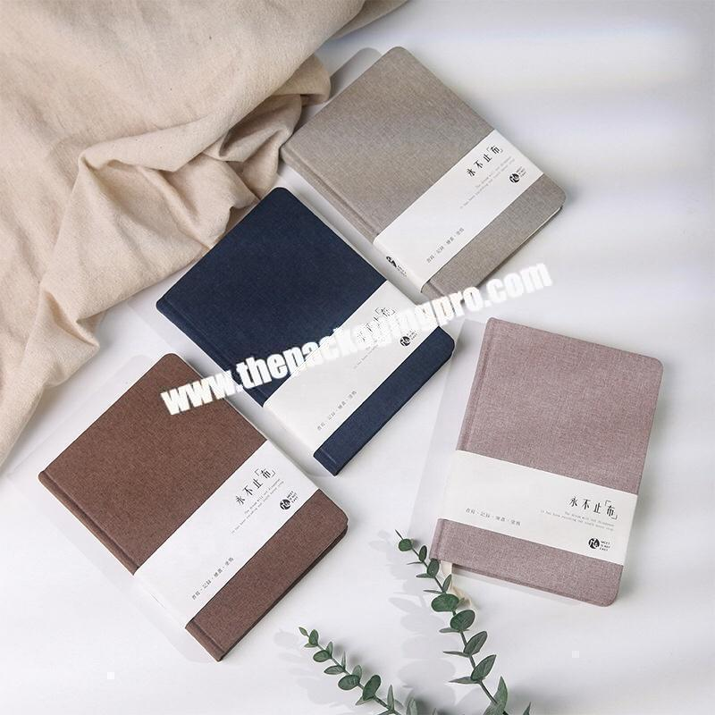 Wholesale Custom Design Navy Blue Office Stationery Journal Love Student Diary Business Academic Hardcover Fabric Linen Notebook