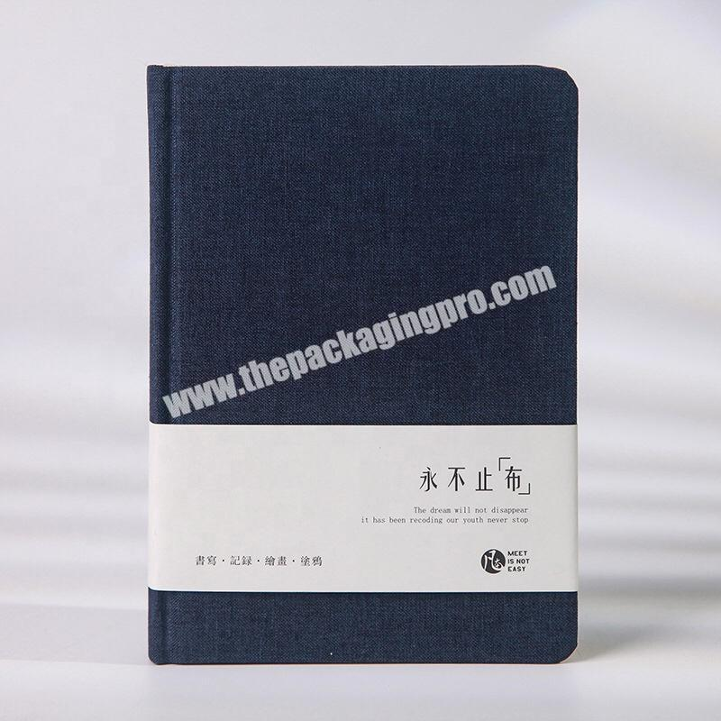Shop Custom Design Navy Blue Office Stationery Journal Love Student Diary Business Academic Hardcover Fabric Linen Notebook