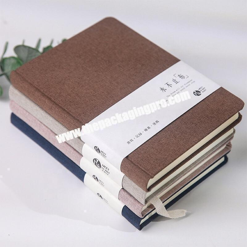 Manufacturer Custom Design Navy Blue Office Stationery Journal Love Student Diary Business Academic Hardcover Fabric Linen Notebook