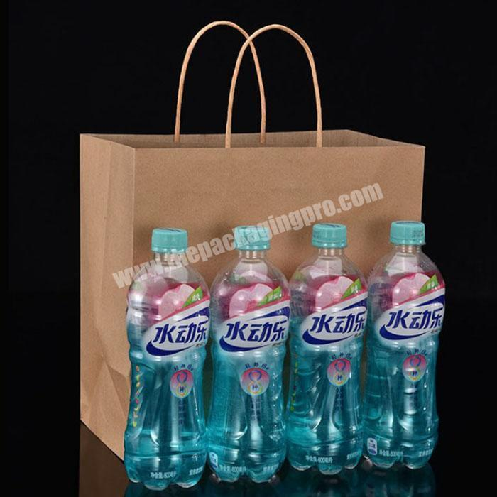 Custom Design Twisted Handles Grocery Food Take Away Packing FSC Approved Kraft Paper bag With Logo Print