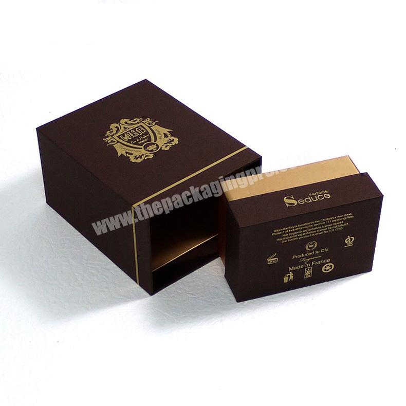 Factory Custom embossing and flocking perfume packaging box with eva for perfume bottle