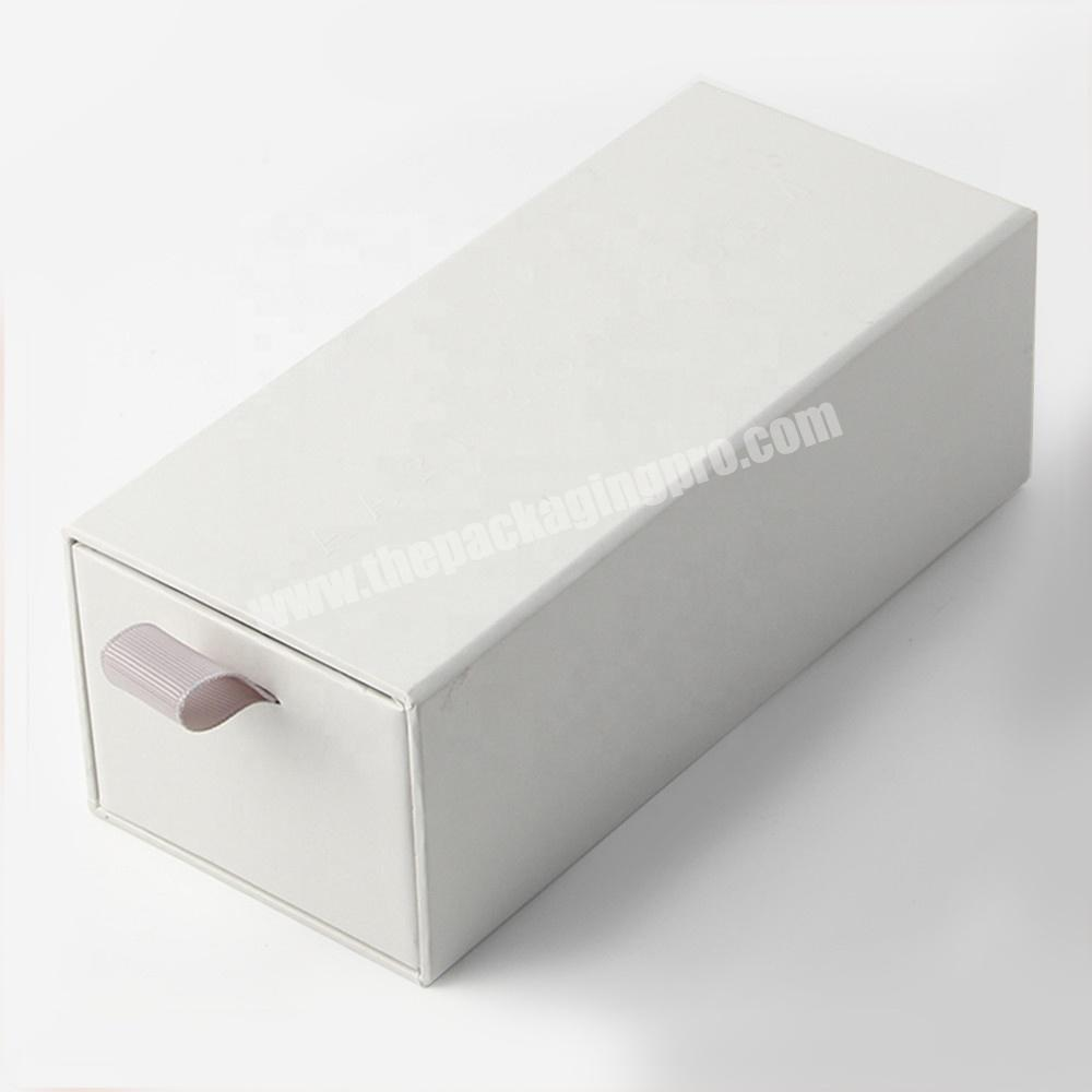 custom empty white eyelash packaging box with sleeve and ribbon