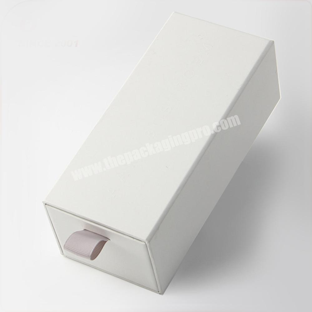 Supplier custom empty white eyelash packaging box with sleeve and ribbon