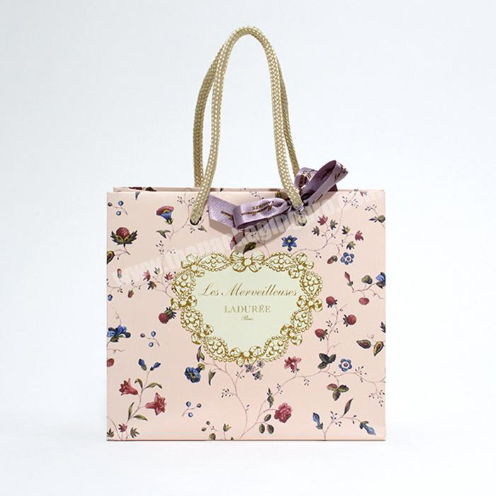 custom floral pattern famous brand paper bag for bakery