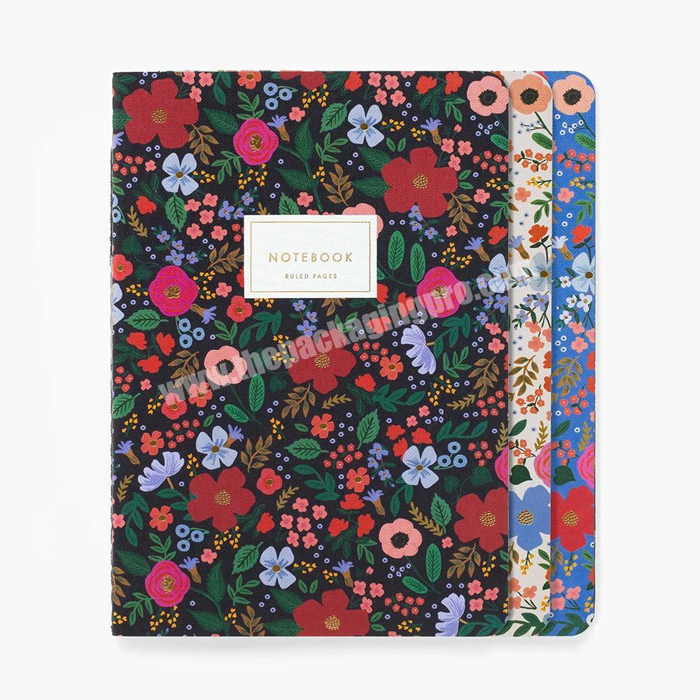 Custom Floral Printed OEM 3 Pack Stitched Binding Planner School Exercise Notebook Set Lined Paper Diary