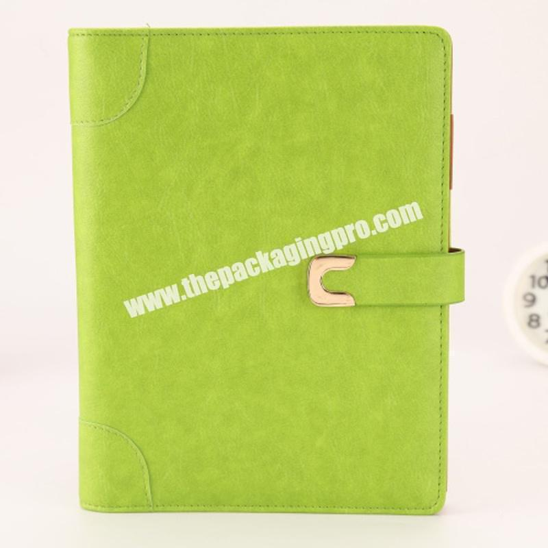 Custom Green Pu Leather Notebook Gift Set With Pen And Name Card Holder Custom Pastel Leather Office Diary Notebooks With Logo