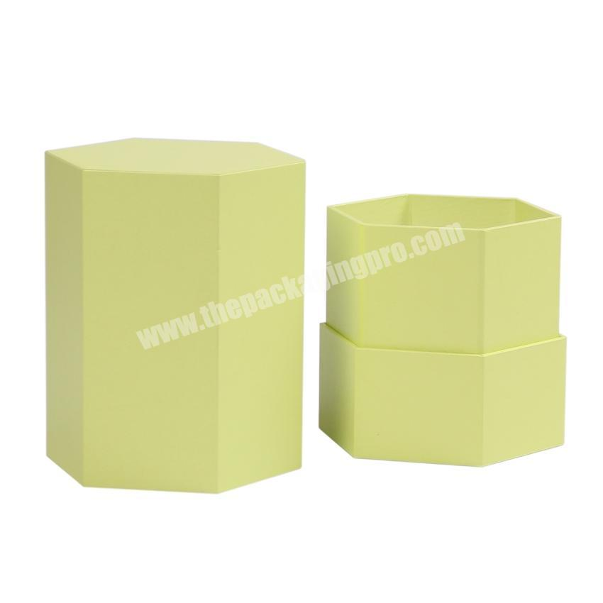 Custom hexagon gift boxes for candle packaging candle packing boxes lid and bottom candle box