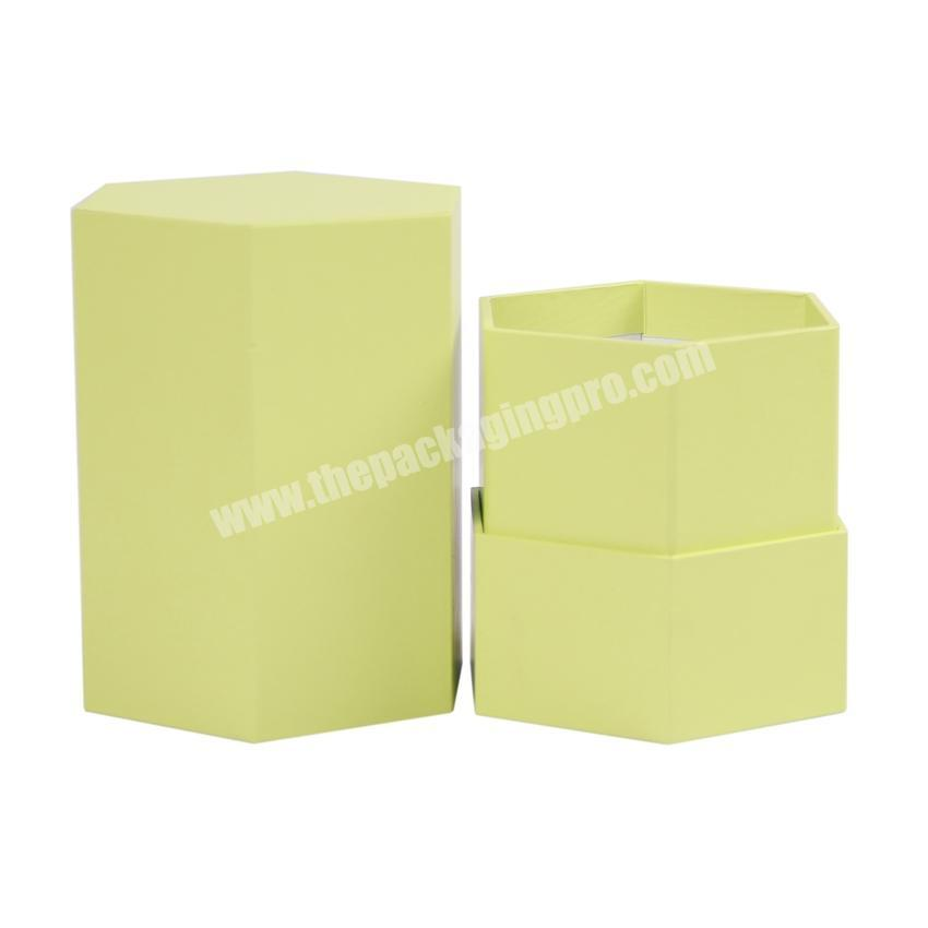 Manufacturer Custom hexagon gift boxes for candle packaging candle packing boxes lid and bottom candle box