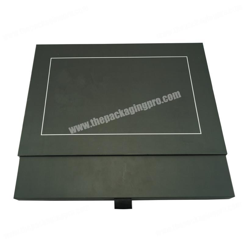 Custom High Quality Black Soft Touch Fancy Paper Drawer Sliding Clothings Box Packaging