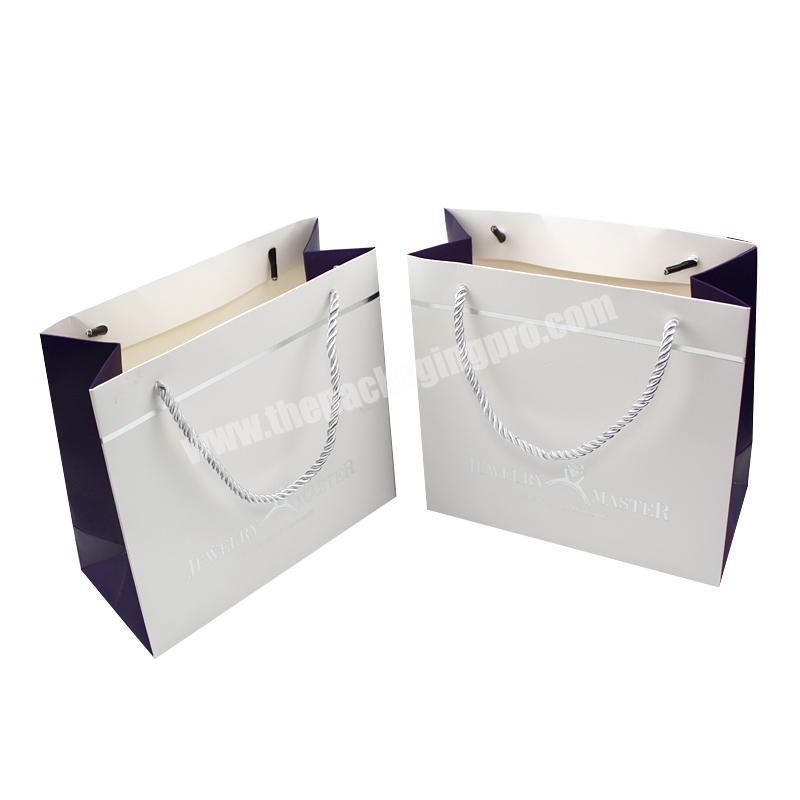 Custom high quality shopping white print paper bag machine with string