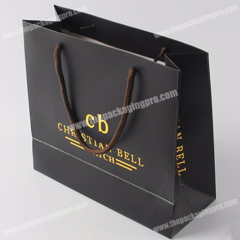 Custom hot stamping black shopping paper bags with logo printing packaging