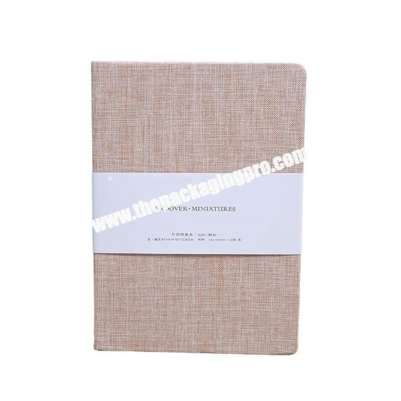 Custom Japanese Style Plain Red Green Brown Linen Fabric Cover Journal Office School Academic Planner Hardcover Diary Notebook